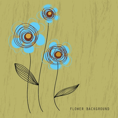 abstract background with a picture of three blue flowers Vector