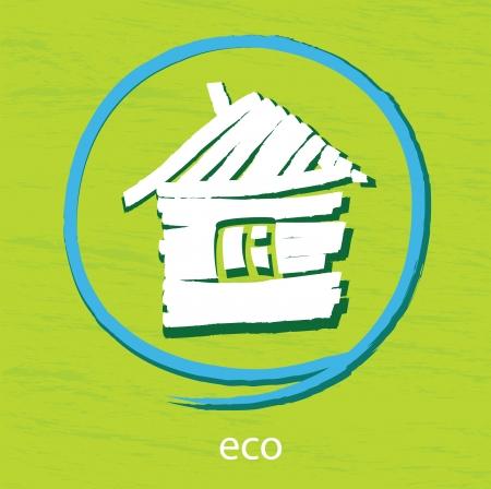 conciencia ambiental: icono de la Casa Blanca sobre un fondo verde Vectores