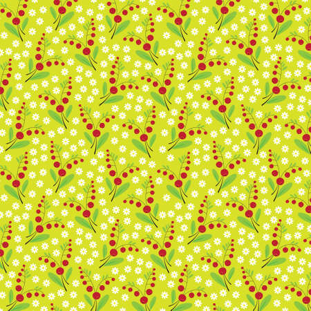 Seamless texture of ripe berries and daisies on a yellow background  Vector