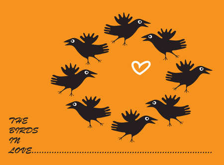 ornithology: orange background with a picture of the seven crows  Illustration