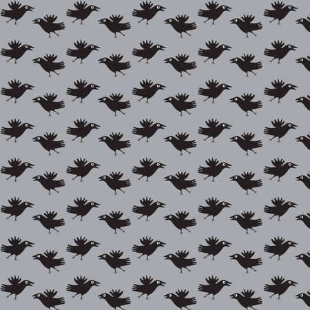 Seamless texture with the image of a flight of crows on a gray background  Stock Vector - 12640703