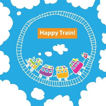 birthday train: Vector image of the children