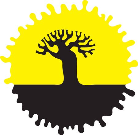 Vector Image  A silhouette of a tree on a round yellow background  Vector