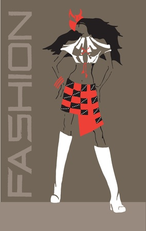 Vector image of a model of modern style clothing  Vector