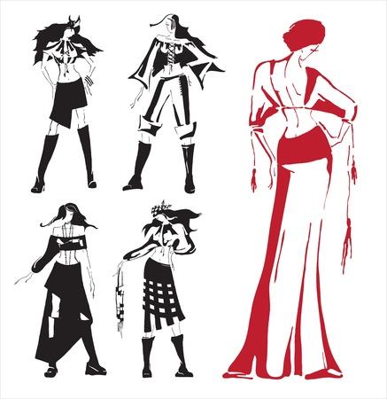 Vector drawing  Modern dress in the Ukrainian folk style  Illustration