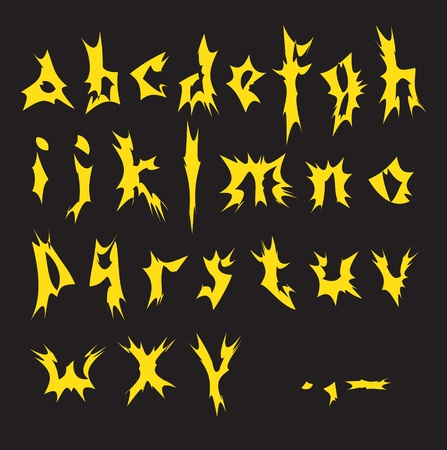 penman: Vector yellow alphabet on a black background
