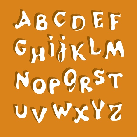 penman: Vector white alphabet with a shadow on an orange background  Illustration