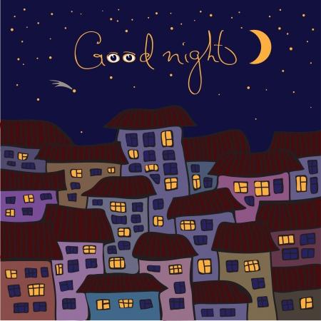 bonsoir: Dessin vectoriel d'une nuit dans la vieille ville Le ciel est �toile filante Illustration