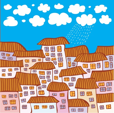 Vector abstract image of houses against the blue sky with small clouds  Illustration