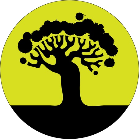 Icon  Siluett old tree in a circle  Vector