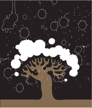 Vector abstract silhouette of a tree on a black background with texture blots Stock Vector - 12882817