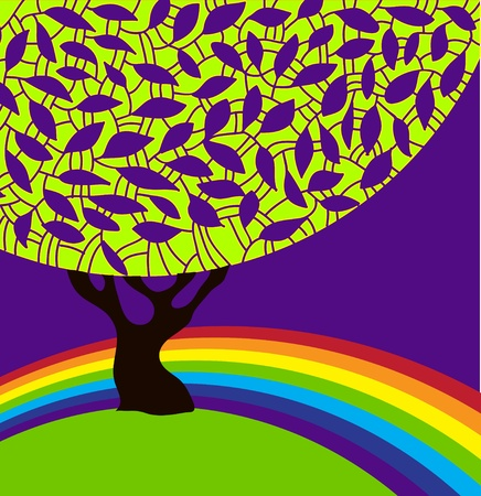 Vector abstract silhouette of a tree with ornamental foliage and rainbow Stock Vector - 13008640