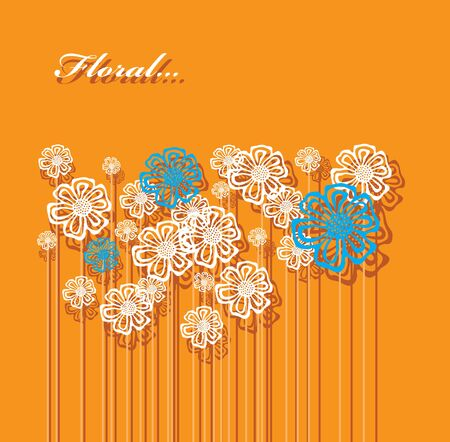 Vector image of a lot of flowers on tall stems  Vector