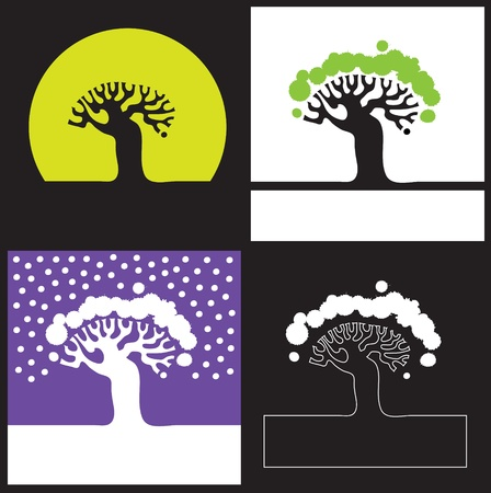 Vector illustration  Silhouette of a tree - four options Vector