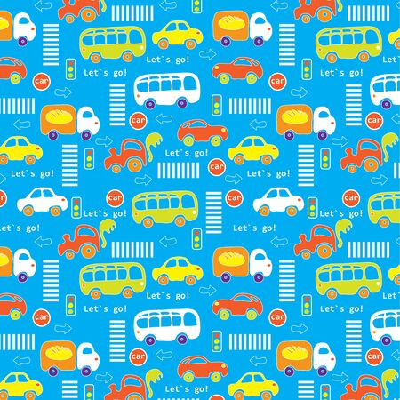 Seamless texture  The road with different cars, traffic lights and signs  Stock Vector - 13008644