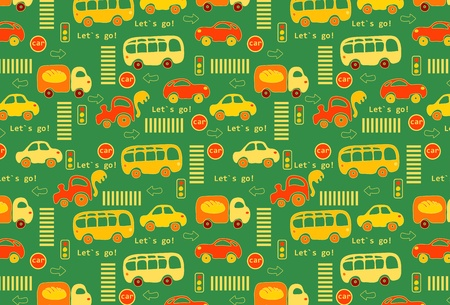 Seamless texture  The road with different cars, traffic lights and signs  Illustration