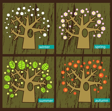 changing seasons: Vector illustration  Four seasons - trees during the seasons