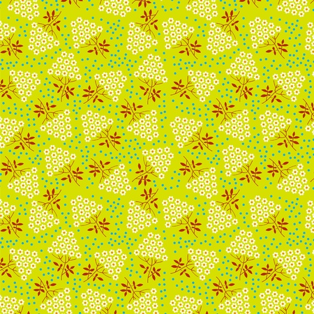 Seamless texture  White flowers on a yellow background Stock Vector - 13008646