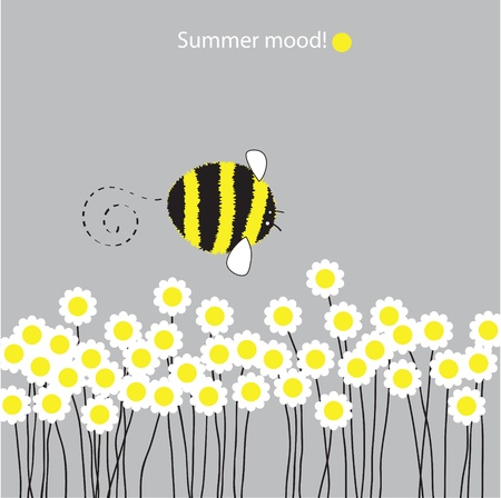 Vector drawing  Bumblebee flies over the blooming daisies  Illustration