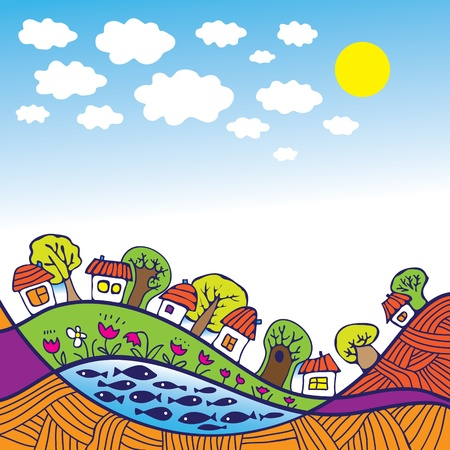 small fishes: Small houses in the environment Illustration