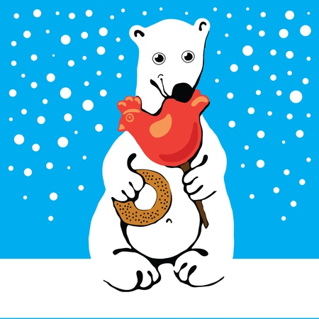 Polar bear sitting on the ice and eat sweets Illustration