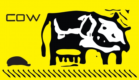 agronomics: The image of the spotted cow on a yellow background