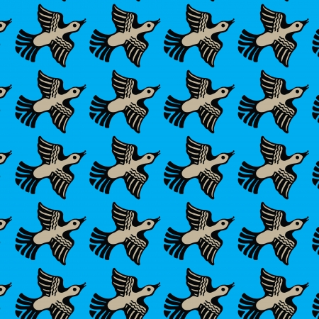 Seamless texture of the image ornamental flying ducks Vector