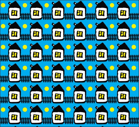 Seamless texture with small white houses on blue background Stock Vector - 14189423