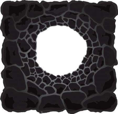 caveman: Ilustraci�n de la cueva de dibujos animados aislado sobre fondo blanco