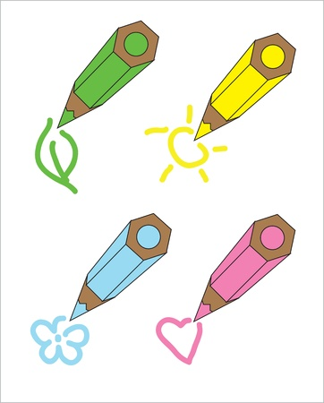 Pencil illustration set  Each different colored pencil, and paints a picture - the sun, leaf, flower, heart Illustration