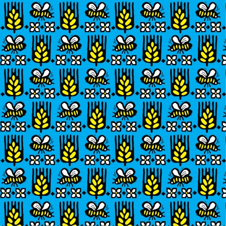 Seamless texture  Field with ears of wheat, flowers and bees Vector