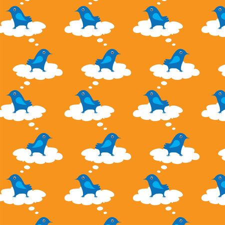 Seamless texture with the image of a bird that sits on a cloud of thought the other Stock Vector - 14189262