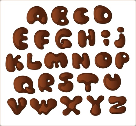 runny: Hand drawn dark chocolate alphabet  Isolate