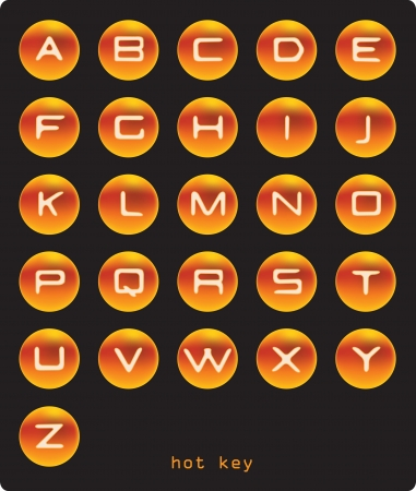 penman: alphabet  Round glowing orange button with the letters Illustration