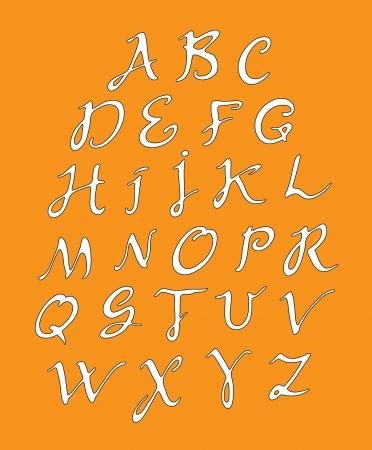 penman: white alphabet on an orange background