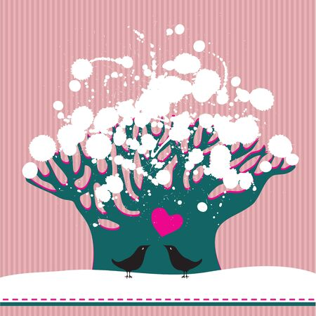 Vector image of two birds near the snow-covered tree Stock Vector - 14324314
