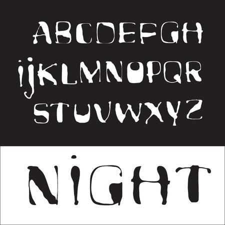Alphabet  White handwritten letters on a black background Stock Vector - 14324300