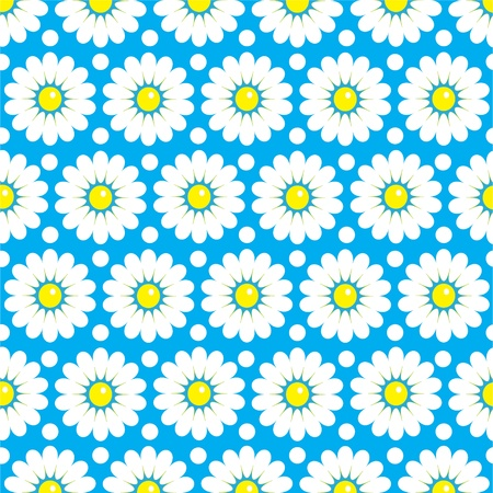 Seamless texture of daisies on a blue background