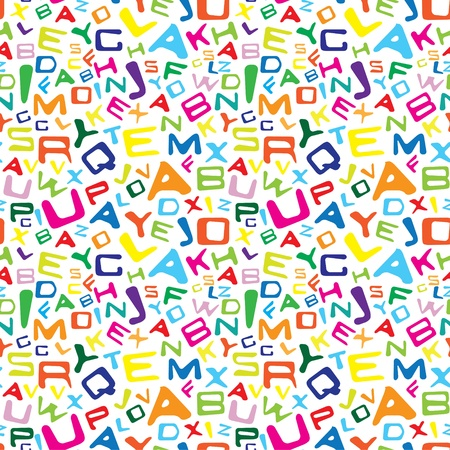 primary colours: Seamless texture with colorful letters isolated on white background