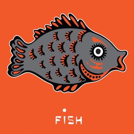 image of decorative fish on an orange background Vector