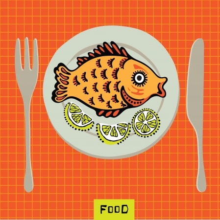 crucian: Vector image of a plate of fish and lemon slices Illustration