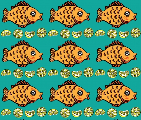 Seamless texture of the image sets of goldfish and lemon Stock Vector - 14324333