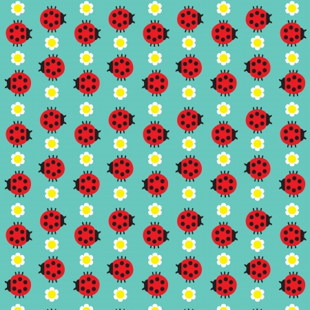 Seamless texture with the image of the ladybug and daisy Vector