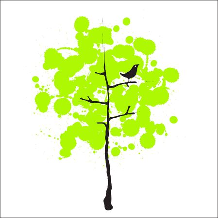 thrush: Vector image of a green tree with a bird Illustration
