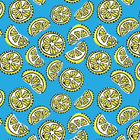 Seamless texture with the image of lemon on a blue background Vector
