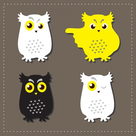 Set of four cartoon owls with various emotions  Vector