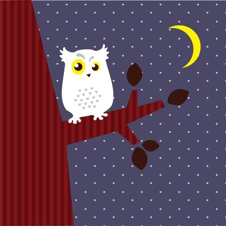 Vector  Image of an owl that sits on a branch Vector