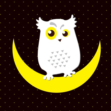 Vector  Image of an owl that sits on a moon Vector