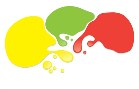 Vector paint stains yellow, green and red. Isolate