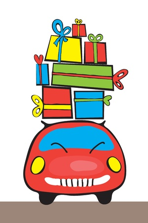 Vector image  Red car and a lot of gifts Vector